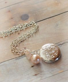 Silver Locket, Long, Pink Pearl, Czech Pink Flower, Silver Floral Locket Necklace    $24.00