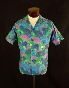 Vintage Collectible Blue Beyond The Reef Tropical Floral Fan Hawaiian Shirt - 42 #ParadiseHawaiiBeyondTheReef #Hawaiian #Doyoureallyneedone