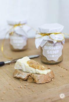Geschenke aus der Küche: Birnensenf, scharf & süß, Freebie Printable Labels, lecker zu Käse,Rezept