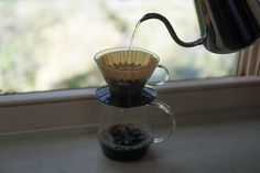 All glass with the Kalita Wave 185 Glass and Pitchii Server. Nice breeze coming in today! ☀  http://kurasu.me/products/kalita-wave-155-185-glass-dripper-black http://kurasu.me/products/coffee-server-pitchii