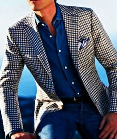 Blue plaid jacket, chambray shirt, and jeans. how a man can pull off plaid Men's fashion Fashion Mode, Look Fashion, Mens Fashion, Lifestyle Fashion, Elegance Fashion, Fashion Menswear, Blazer Fashion, Daily Fashion, Fashion Shoes