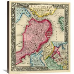 Global Gallery 'Plan of Boston, 1860' by Samuel Augustus Mitchell Graphic Art on Wrapped Canvas Size: