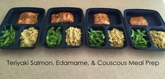 I love this website. Starting after Super Bowl. meal prep - teriyaki salmon, edamame, and couscous.