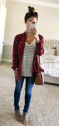 Trendy Fall Outfit For Women With Flannel Inspiration > galafashion. Fall Fashion Outfits, Fall Fashion Trends, Fall Winter Outfits, Look Fashion, Trendy Fashion, Autumn Fashion, Fashion Boots, Dress Fashion, Fashion 2018