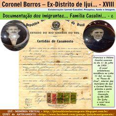 IJUÍ - RS - Memória Virtual: Documentação dos imigrantes: Certidão de casamento...