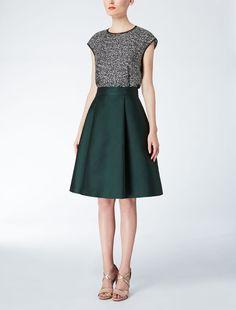 Max Mara MIRANDA emerald: Duchesse fabric skirt.