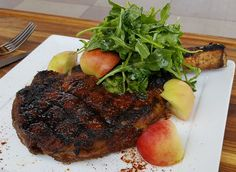 Grilled Rib Eye with Pickled Peaches and Gewurztraminer Vinaigrette - click for recipe: https://www.willowslodge.com/barking_frog/chef_bobby/