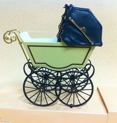 Antique Pram in Cream & Green, Dolls House Miniature