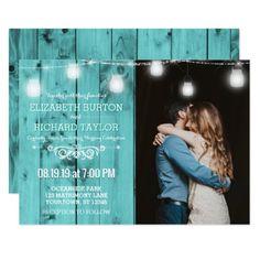 Beach Wood String Lights Photo Wedding Invitation - invitations custom unique diy personalize occasions