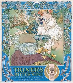 Triner's Bitter Wine Vintage Poster (artist: Mucha, Alphonse) USA c. 1907 (12x18 SIGNED Print Master Art Print w/ Certificate of Authenticity - Wall Decor Travel Poster) >>> Details can be found by clicking on the image.(It is Amazon affiliate link) #WineTime