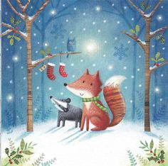 New Christmas Design from Joanne Cave in preparation for the Spring Fair Licensing show this week. See more of her hand painted cards in her portfolio online! #fox #badger #christmas #handpainted #woodland #winter #forest #greetingcards #illustration