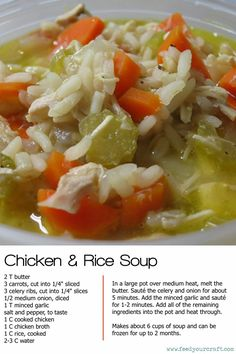 chicken and rice soup recipe--Very simple recipe.  I added 1/2 tsp of dried thyme for a little extra flavor.