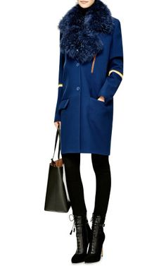 Tippi Shearling-Trimmed Scuba-Wool Coat by Preen by Thornton Bregazzi - Moda Operandi