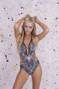 Slither City Swimsuit | Primark  Bite back in Primark's stunning cut out swimsuit with neck tie. Adjustable mid back tie so the plunge neckline with gold beading detail can make maximum impact.Removable padding.