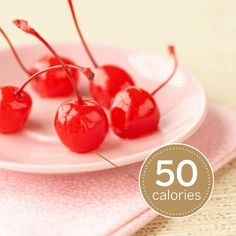 Maraschino Cherries - Stock these treats in your fridge for grab-and-go convenience. Each cherry has just 10 calories with no fat or cholesterol.
