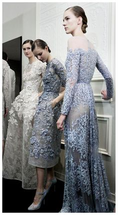 ELIE SAAB Haute Couture Spring Summer 2013 - Backstage Blue dresses too much for Mother of the Bride Dress?   ;o)