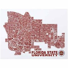 FSU campus map. I need this. Immediately. Tallahassee owns a piece of my heart