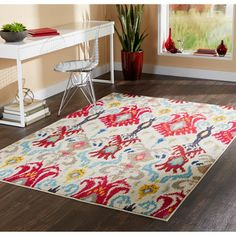 Vibrant Bohemian Ivory/ Red Area Rug (4' x 5'9) | Overstock.com Shopping - The Best Deals on 3x5 - 4x6 Rugs