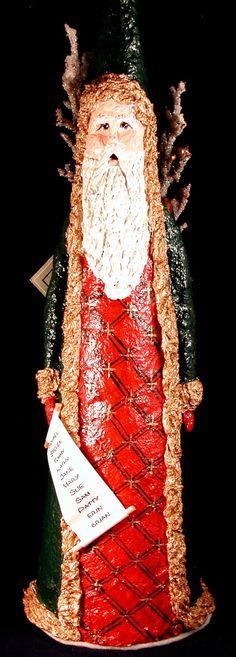 OOAK Tall Paper Mache Santa.