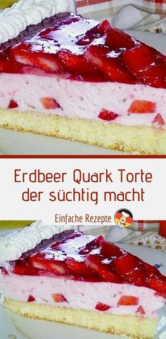 Strawberry curd pie that is addictive- Erdbeer Quark Torte , der süchtig macht INGREDIENTS: For the sponge cake: 2 egg (s), separately 1 pinch (s) salt 2 tablespoons water, cold 60 g sugar - Chocolate Cake Recipe Videos, Chocolate Chip Cake, Chocolate Chip Recipes, Dessert Cake Recipes, Homemade Cake Recipes, Fingers Food, Easy Vanilla Cake Recipe, Food Cakes, Chocolates