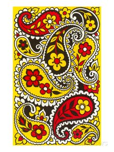 size: Art Print: Psychedelic Paisleys, Yellow and Red Poster : Artists Paisley Design, Paisley Pattern, Mandala Design, Paisley Print, Paisley Park, Bordado Paisley, Zentangle Patterns, Paper Patterns, Fun Patterns