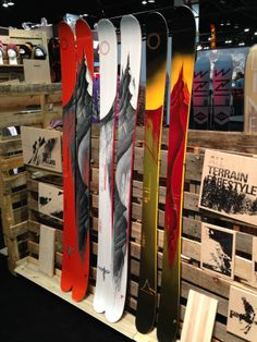 Line 2014/15 ISPO stand (L to R): Magnum Opus, MPO and SFB. The Magnum is a new ski by Mr. Pollard.
