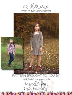 This is a PDF pattern for instant download for this adorable top, tunic or dress. THIS IS NOT A FINISHED GARMENT, it is for the pattern that show you and teach you step by step how to sew it!  Catherine comes in sizes 1 /2 - 14. This knit top, tunic and dress is FULL of options. Choose from two necklines- scoop or square. The yoke is lined or you can bind the scoop neck. The binding is wonderful for stretch lace yokes. Perfect for year-round wear with several sleeve options. The snug-fit...