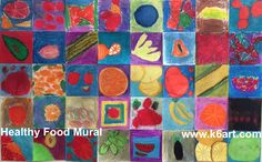 Healthy Food Mural -oil pastel. Individual pieces assembled into colorful group art project.