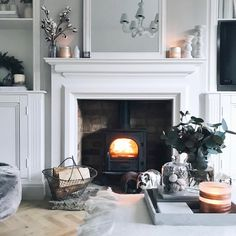 This is my absolute favourite time of the year! Literally nothing I love more than getting in front of the fire. I'm not the only one round… Brick Fireplace, Fireplace Design, Fireplace Ideas, Victorian House Interiors, Victorian Homes, Living Room Grey, Living Rooms, Victorian Fireplace, Living Room Inspiration