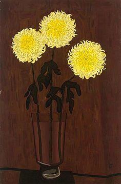 Chrysanthemums by John Brack. 1958 (still life quick heart)