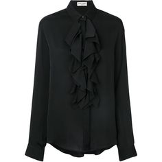 Saint Laurent ruffle placket shirt (£980) ❤ liked on Polyvore featuring tops, black, silk long sleeve shirt, yves saint laurent shirt, ruffle shirt, frilly shirt and silk long sleeve top