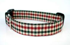 Christmas Plaid Classic Dog Collar