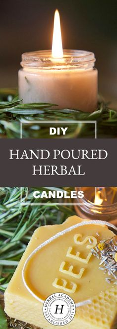 DIY Hand Poured Herbal Candles - Are you looking for a simple way to enjoy the ambiance of candlelight without all the chemicals? Try making your own hand poured herbal candles instead! Diy Candles Scented, Aromatherapy Candles, Homemade Candles, Homemade Crafts, Easy Crafts, Candle Making Business, Natural Candles, Diy Organic Candles, Wie Macht Man