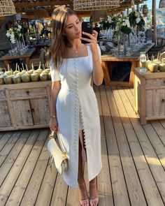Retro Outfits, Classy Outfits, Chic Outfits, Fashion Outfits, Style Casual, Feminine Style, Summer Brunch Outfit, Casual Dresses, Summer Dresses