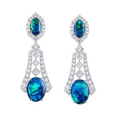 Capri earrings - One-of-a-kind drop Opal earrings from Louis VUITTON 's new Acte V/The Escape collection, which vividly capture the colours of the famous Blue Grotta -Capri's famous underwater cave- by surrounding mysterious black Australian Opals with sparkling waves of Diamonds.