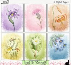"Vintage flower illustrations are featured on these printable art papers featuring shabby distressed digitally painted backgrounds. Instant download collection of 6 - 8.5"" x 11"" papers in purple, pink, orange, green, and blue. (1320) $2.50"