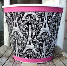 Items similar to Ooh La La.Paris Wastebasket Black White Hot Pink Michael Miller Eiffel Tower Child Baby Bedroom Bathroom Nursery Storage on Etsy