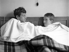 "Photo: Raymond Cauchetier: Jean-Paul Belmondo and Jean Seberg on the set of ""À bout de souffle"""