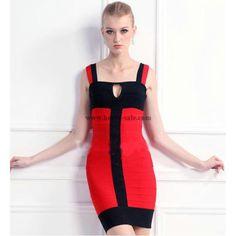 Herve Leger Red Colorblock Halter Sexy Verband Kleid H122LRC