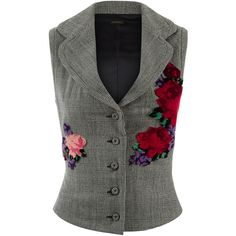 La Perla Essentials Prince Of Wales Check Vest With Floral Embroidery... ($1,215) ❤ liked on Polyvore featuring outerwear, vests, intimates, vest waistcoat, floral vest, la perla, crop vest and checked vest