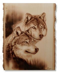 Pyrographie, Wood Burning, Wolves on Bass Wood. Wood Burning Crafts, Wood Burning Patterns, Wood Burning Art, Wood Crafts, Diy Wood, Wood Burn Designs, Wood Design, Pyrography Patterns, Wood Burner