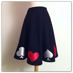Black Rockabilly Skirt, Appliqued Pin Up QUEEN of HEARTS Full Circle Skirt, Vintage Style,  Alice in Wonderland POKER Night, Made to Order on Etsy, $148.00