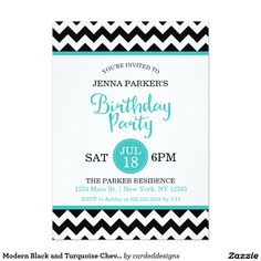 Modern Black and Turquoise Chevron Birthday Party Card
