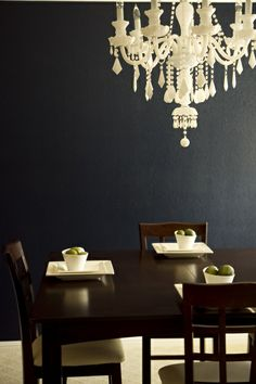 Chance and Kaceys Dining Room. I love the depth of color on these walls. The cream is amazing and delicious against it.