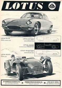 1960 Lotus Elite and Seven Advertising Sports Car Illustrated July