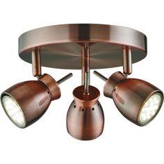 Searchlight Lighting Jupiter LED 3 Light Ceiling Spotlight Fitting In Antique Copper Finish