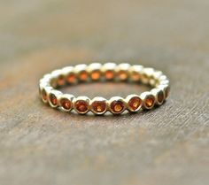 Red Garnet and 14k yellow gold stack ring  by JLaurynDesign