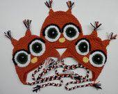 Crochet Owl Earflap Animal Hat Toque Beanie Child Kids Teen Adult Handmade