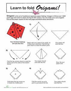 Worksheets: How to Do Origami: Ladybug