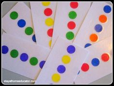 Pattern Cards to learn patterns and colors. Use pom pom balls as well.